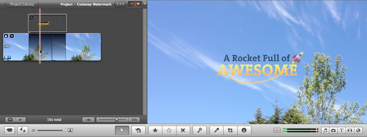 Create iMovie titles or watermarks with creative overlays