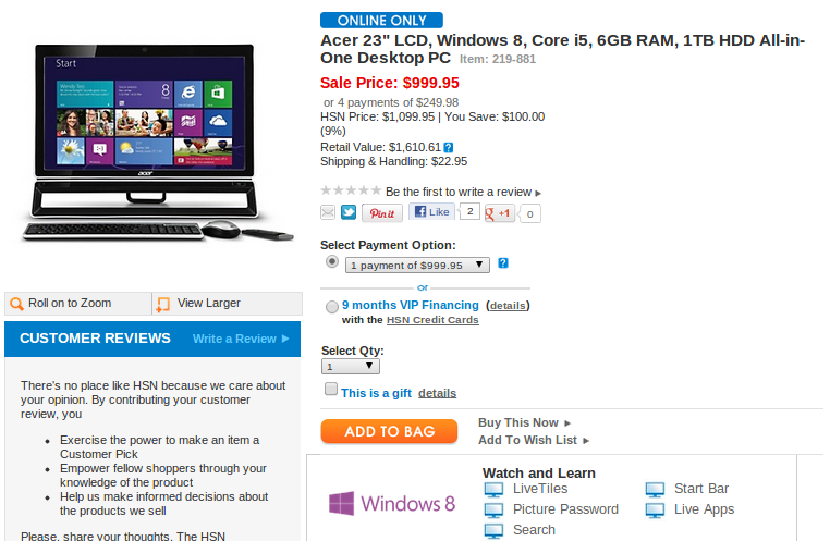Windows 8 PCs hit Home Shopping Network early | PCWorld