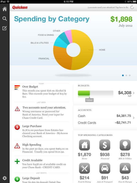 The overview screen for Quicken 2013's iPad app.