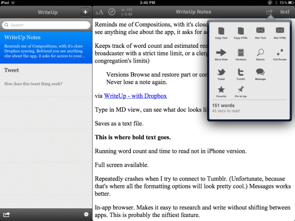 Review Use Writeup To Create Markdown Text On Your Ipad