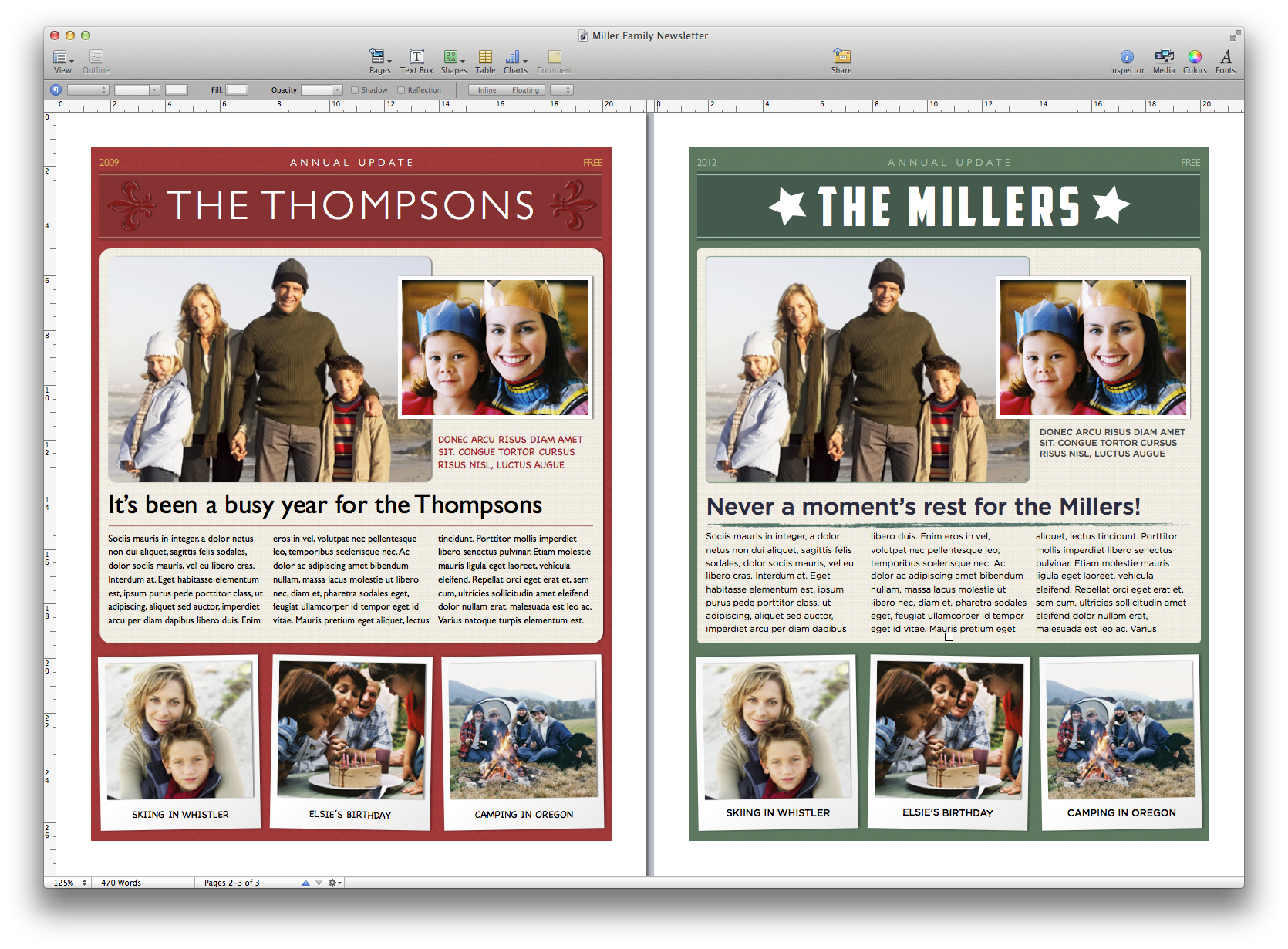 Create a holiday newsletter with pages or iphoto macworld you can quickly make a template your own by changing fonts colors and other attributes maxwellsz