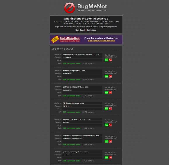 BugMeNot mantiene una base de datos de acceso que puede utilizar para ...