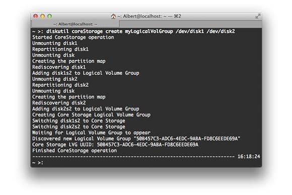 Output of diskutil coreStorage createVolume command