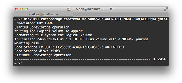 Output of diskutil coreStorage create command