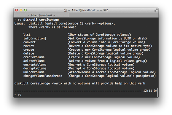 CoreStorage Terminal Commands