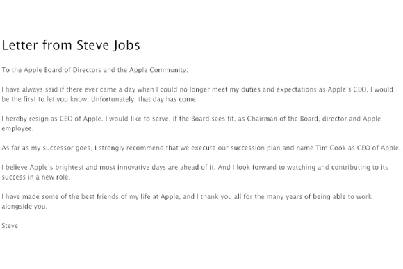 Steve Jobs\'s resignation letter | Macworld