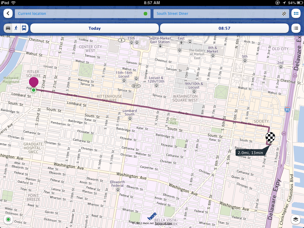 here maps shows you how to walk drive or bus to your destination. hands on with nokia's here maps for ios  macworld