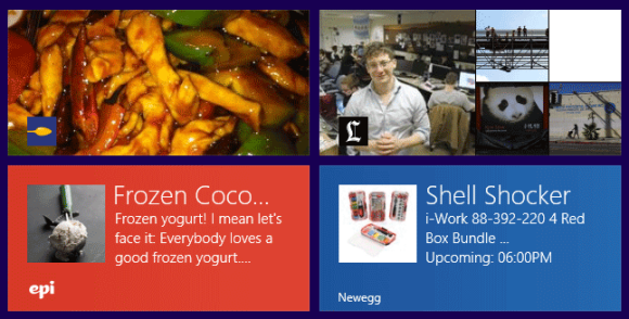 A selection of Live Tiles in Windows 8.