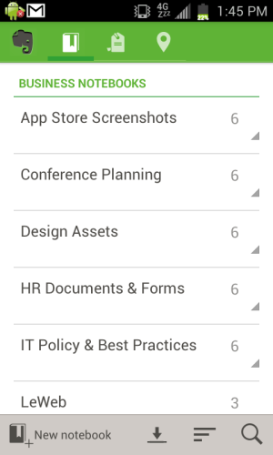 Evernote Business on Android