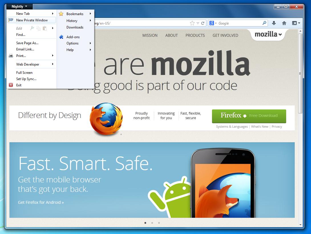 Mozilla Firefox Privater Modus