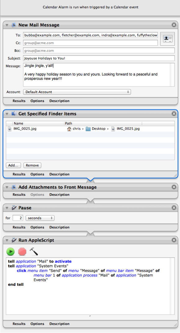 Automator workflow of the month: Sending holiday greetings