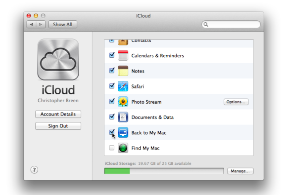 back to my mac airport extreme icloud