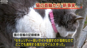 A Japanese news broadcast shows the cat where a hacker allegedly planted evidence for police.