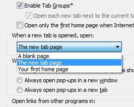 Change the default behavior for new tabs in Internet