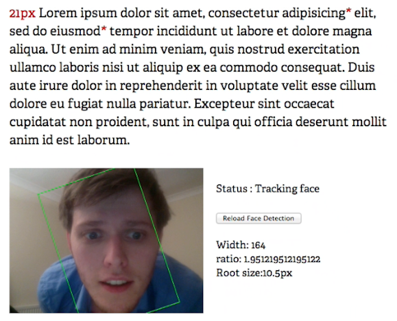 Responsive text by way of face detection