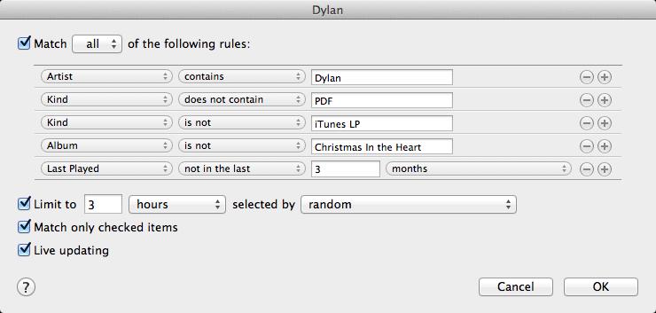 Live updating itunes smart playlist ideas