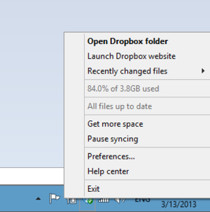 Older Dropbox menu