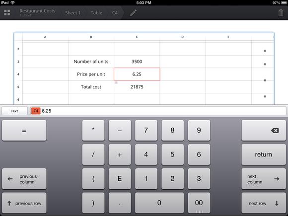 Numeric keyboard ipad