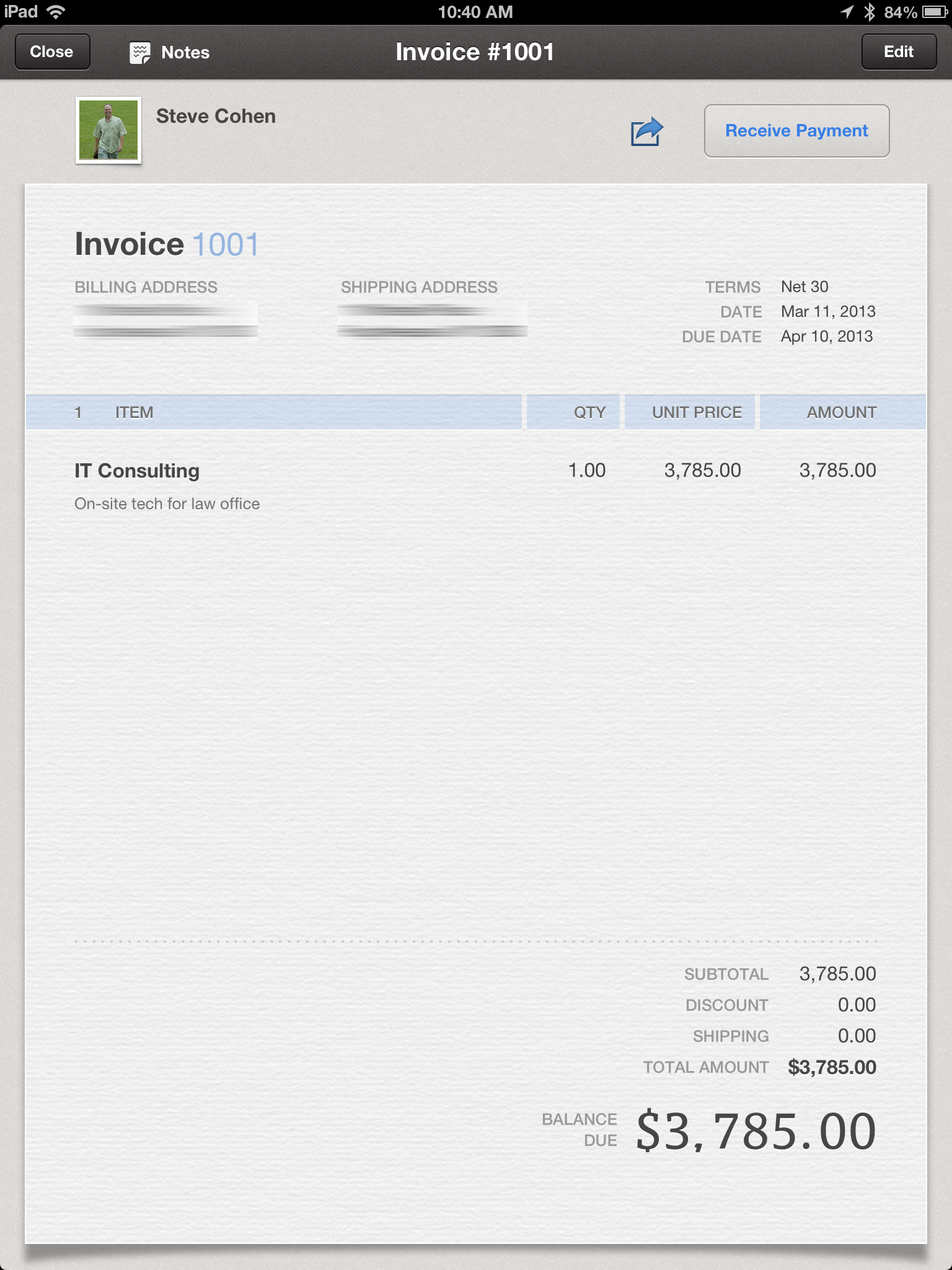 review: quickbooks online for ipad a limited app with potential, Invoice templates