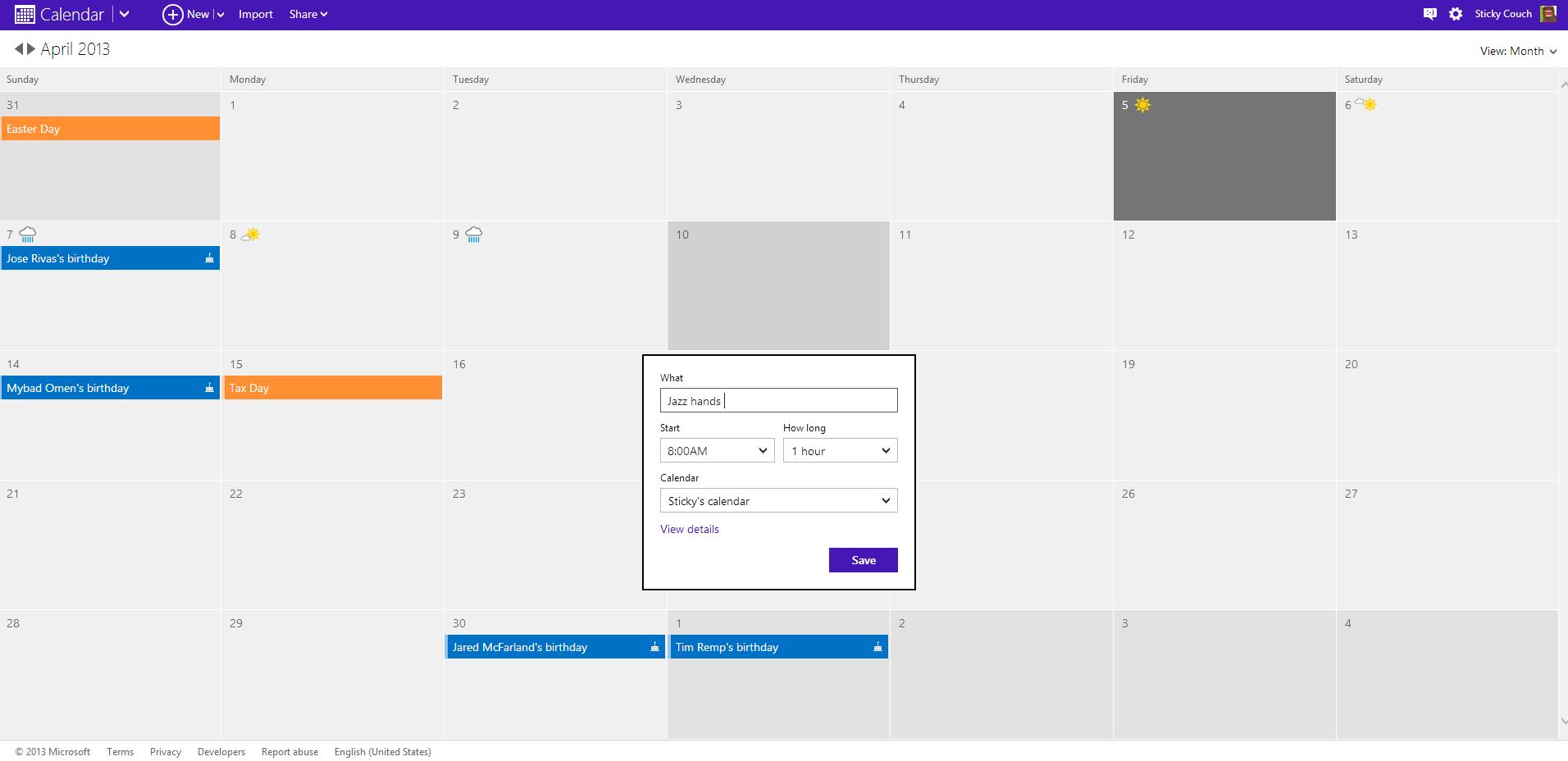 Windows 8 Kalender App