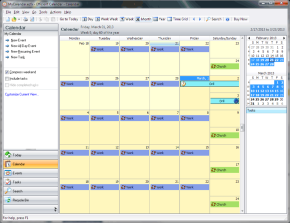 Keep your calendar out of the cloud with Efficient Calendar | PCWorld