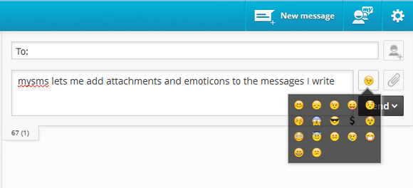 Mysms allows you to add attachments and emoticons to your messages