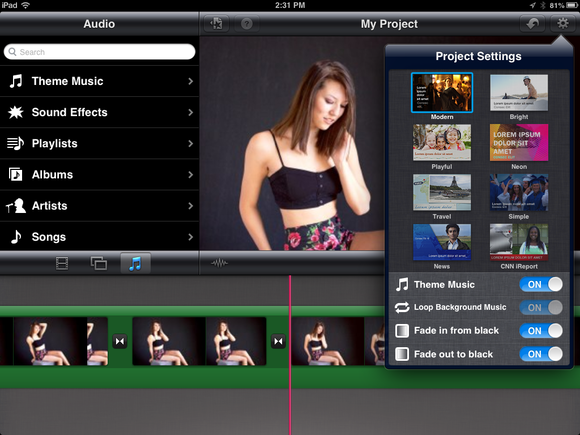 how to delete theme music in imovie