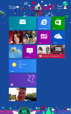 Acer Iconia Windows vertical Start page