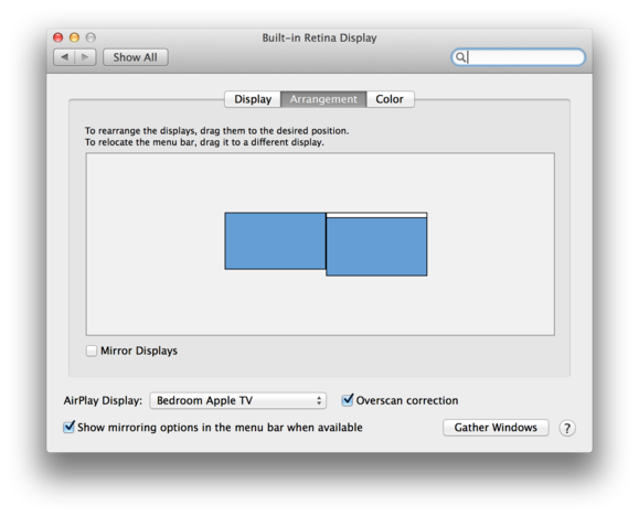 Displays control panel in Mavericks