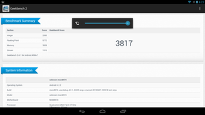 Geekbench score for Snapdragon 800