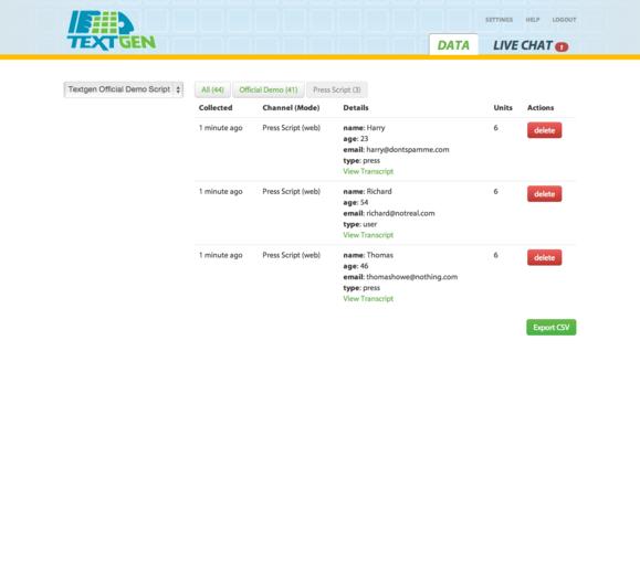 TextGen user interface
