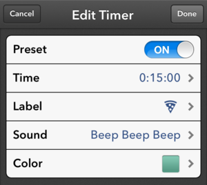 Timer for iOS: Timer-configuration screen