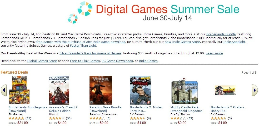 Amazon slashes PC game prices as Steam sale looms