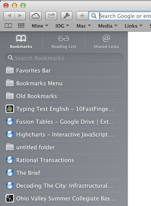 Bookmarks in Safari