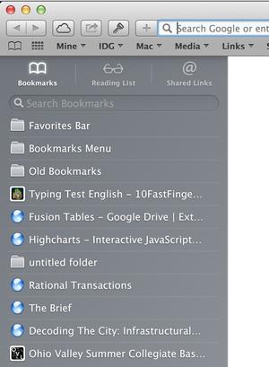 Bookmarks in Safari