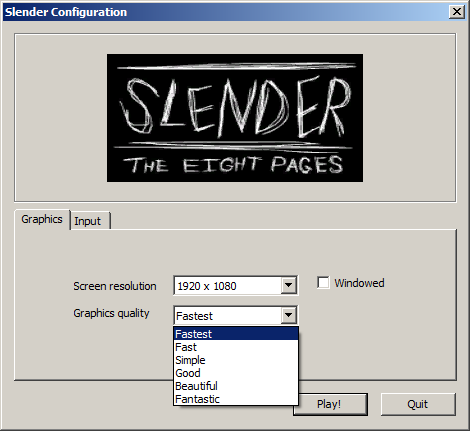 Slenderman The Eight Pages settings screenshot