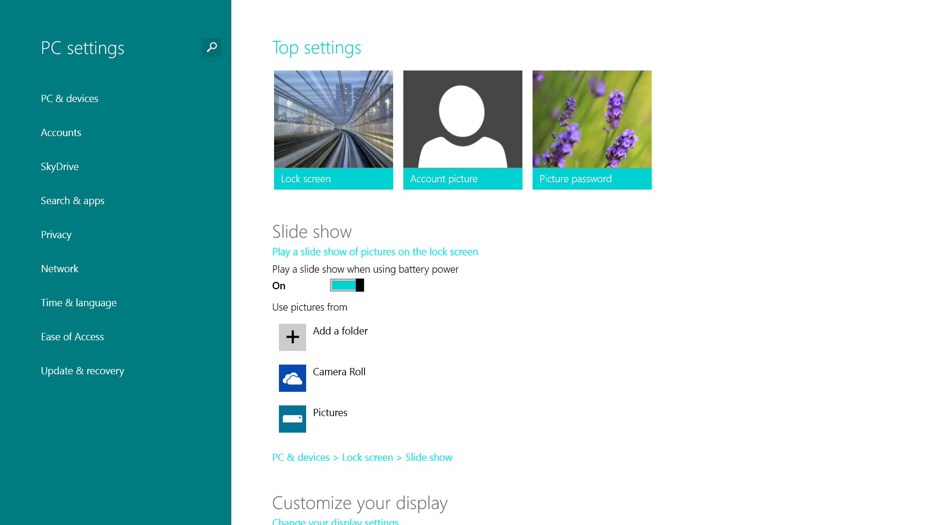 windows 8 1 pc settings