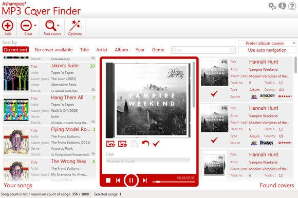 Ashampoo MP3 Cover Finder UI