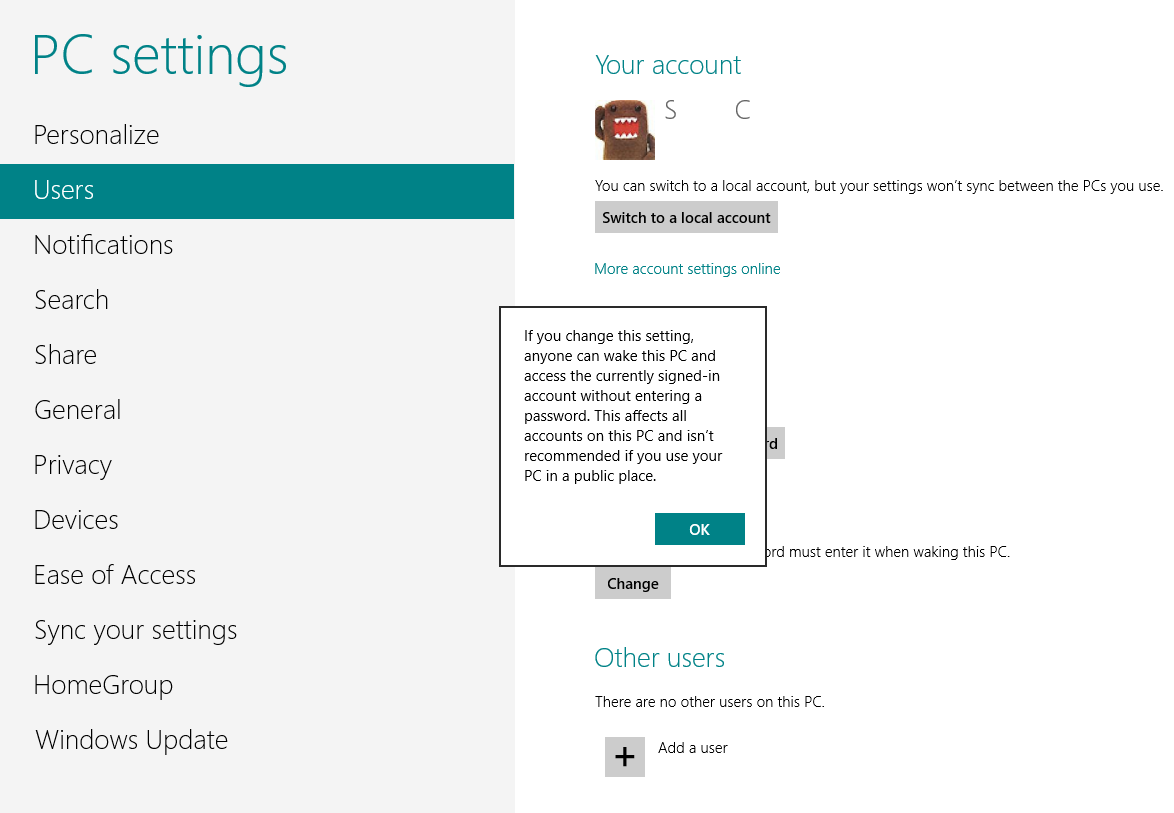 how to turn off user password on windows 8
