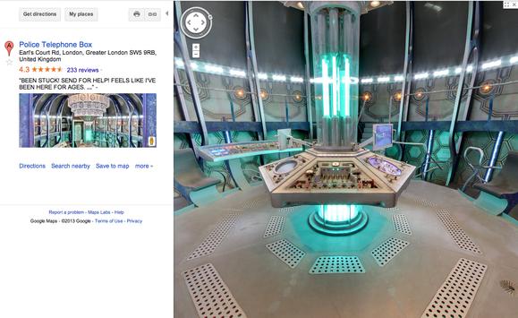 "Explore the TARDIS via this amazing ""Doctor Who"" Google Maps easter egg"