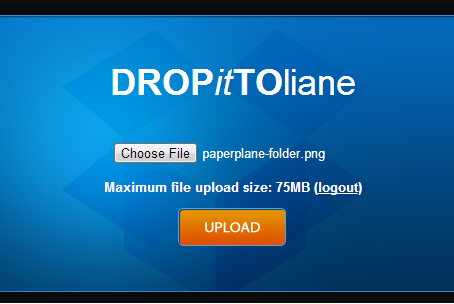 Dropittome upload screenshot