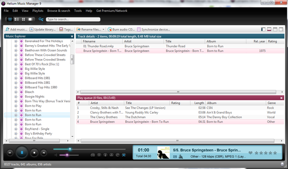 Helium Music Manager 9 interface