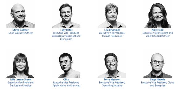 list of Microsoft top executives