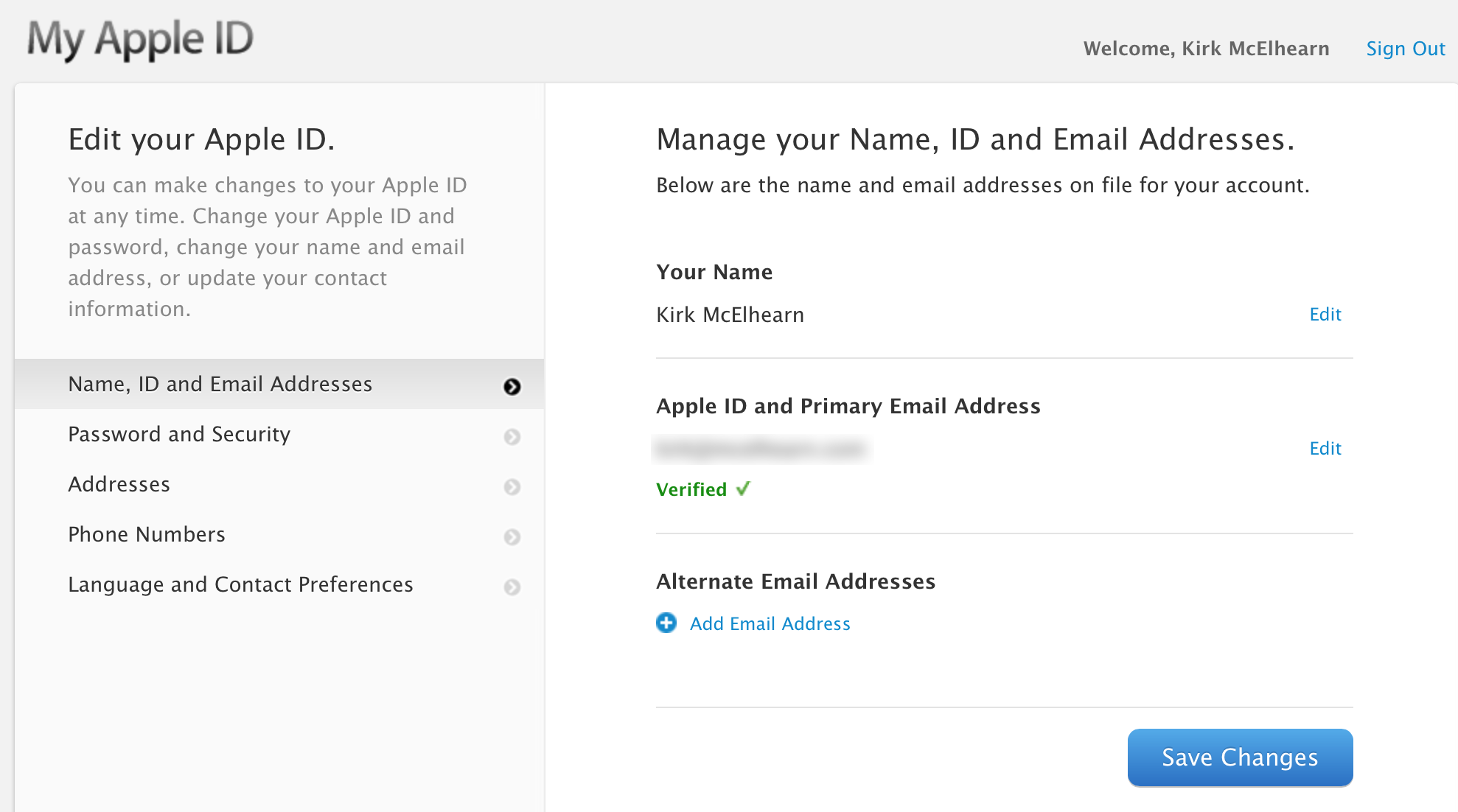 You can change the name or non apple email address associated with