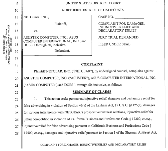Netgear lawsuit against Asus