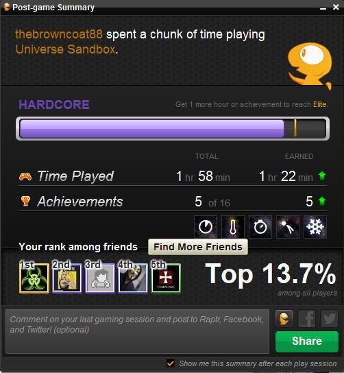 Raptr post-game summary screenshot