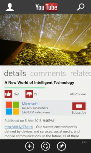 Windows Phone YouTueb app
