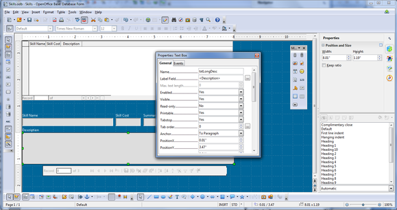 Apache OpenOffice 4.0 database screenshot
