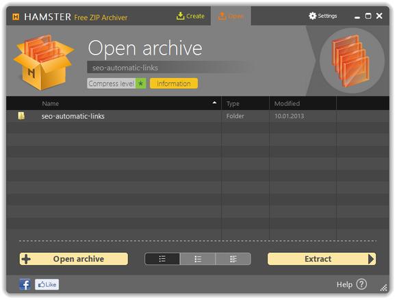 Hamster Free Zip Archiver screenshot