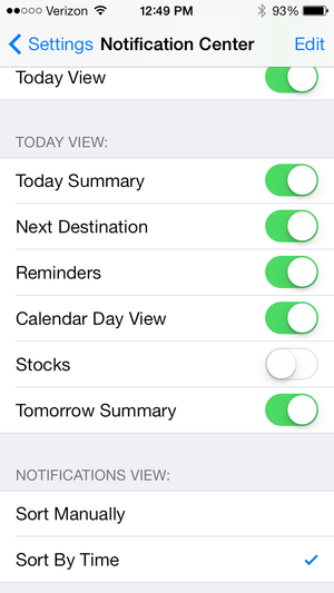 iOS7 Today View settings